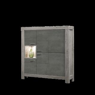 Wohn-Concept Granada Highboard Type 06 mit vier Türen und einem offenen Fach für Ihr Wohnzimmer oder Esszimmer Stauraumelement inkl. LED-Beleuchtung Korpus Haveleiche Nachbildung Front wählbar