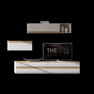 Stralsunder Binz 5-teilige Wohnwand bestehend aus einer Einem Lowboard zwei Hängeschränken und einem Wandregal Ausführung Korpus und Fronten in Tonweiß matt mit Absetzungen in Alteiche für Ihr Wohnzimmer