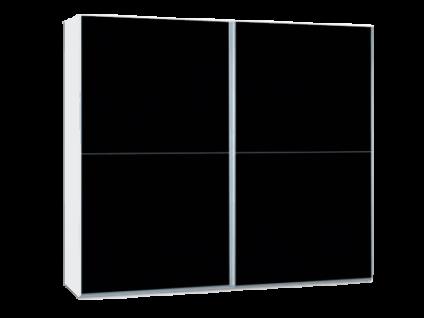 Neue Modular Primolar Venezia 2-türiger Schwebetürenschrank Korpus Dekor weiss Front Glas lackiert schwarz
