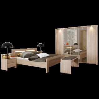 Wiemann Donna Schlafzimmer Bett Drehtürenschrank mit Parsol-Bronze-Spiegel Türen Nachtschränken Ankleidebank Front Korpus Eiche-Sägerau-Nachbildung