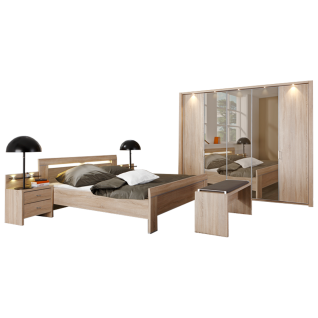 Wiemann Donna Schlafzimmer Bett Drehtürenschrank mit Parsol-Bronze-Spiegel Türen Nachtschränken und Ankleidebank Front und Korpus in Eiche-Sägerau-Nachbildung
