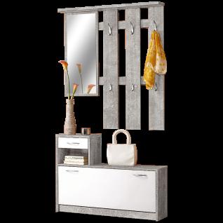 First look Vera Gerderoben-Set 2-teilig bestehend aus Kommode sowie einem Paneel mit Spiegel in Dekor Beton und Weiß***am Lager***