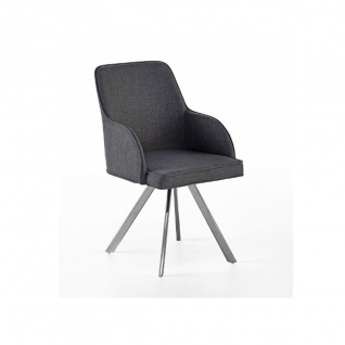 MCA furniture Elara Stuhl EBCE31GX 2er-Set erhältlich mit 4-Fuß-Gestell Bezug Feingewebe grau Ovalrohr 180° drehbar mit Nivellierung Polsterstuhl für Ihr Esszimmer