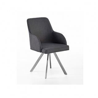 MCA furniture Elara Stuhl EBCE31GX mit 4-Fuß-Gestell Bezug Feingewebe grau Ovalrohr 180° drehbar mit Nivellierung Polsterstuhl für Ihr Esszimmer