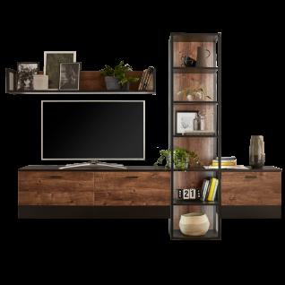 Ideal-Möbel Bacoor Wohnkombination 11 mit Regal Wandboard und zwei Hängelowboards Dekor Eiche Ribbeck Cognac und Cosmos Grey Melamin mit Stahlprofilen - Vorschau 1