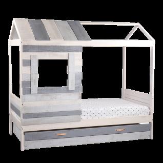 Möbilia Kinderbett in Hausform MDF grau-weiß ca. 90x 200 cm inkl. Lattenrost aber ohne Matratze Spielbett für's Kinderzimmer