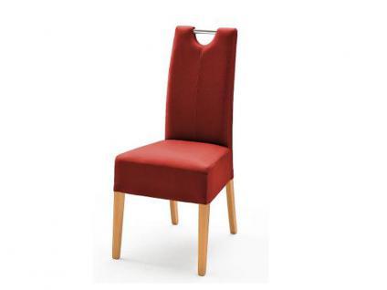 MCA Direkt Stuhl Enya im Lederlook dunkelrot 2er Set Polsterstuhl für Wohnzimmer und Esszimmer Ausführung 4 Fuß Massivholzgestell und Chromgriff