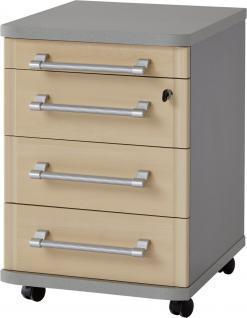 Germania Rollcontainer PROFI in 3 verschiedenen Farbvarianten mit 4 Schubladenfächern, Schublade abschließbar für Homeoffice oder Büro