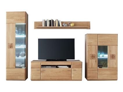 MCA furniture Wohnwand Bologna Wohnkombination 1, 4-teilig, bestehend aus Vitrine, Highboard, TV-Element und Wandboard, Front aus Massivholz Eiche mit Hirnholz Applikationen, Beleuchtung wählbar