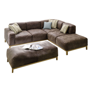 K+W Polstermöbel Wohnlandschaft Lounge 7467 bestehend aus einem charmanten Ecksofa und einer bequemen Hockerbank mit einer Fuß- und Rahmenausführung in Wildeiche Massivholz geölt und mit einem einladenden Echtlederbezug Bison in der natürlichen Farbe schl