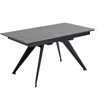 Niehoff Esstisch Update 5143 Tischplatte Glas-Keramik stone grau mit Metallgestell Pulverbeschichtet matt schwarz für Esszimmer und Küche