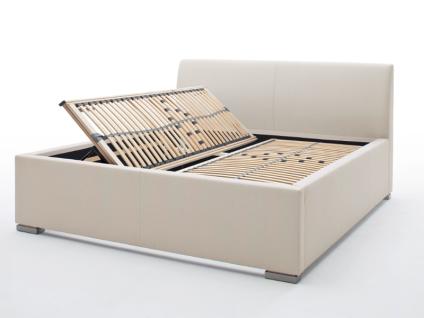 Meise Möbel LA FINCA Polsterbett mit Stoffbezug CHARON mit Bettkasten und Federholzrahmen BELOVIT mit glattem Kopfteil Liegefläche und Farbe wählbar Metallfüße gebürstet in Edelstahloptik