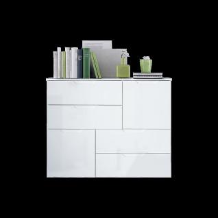 Forte Sienna Kommode SNNK325 mit zwei Türen und vier Schubkästen Korpusfarbe Weiß Front Weiß Hochglanz Dekor Sideboard für Ihr Wohnzimmer Esszimmer
