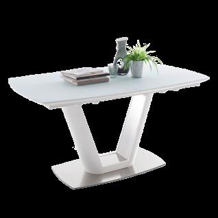 MCA furniture Esstisch Vanita weiß Tischplatte mit Synchronauszug ca. 160 - 210 cm Bodenplatet Edelstahl gebürstet
