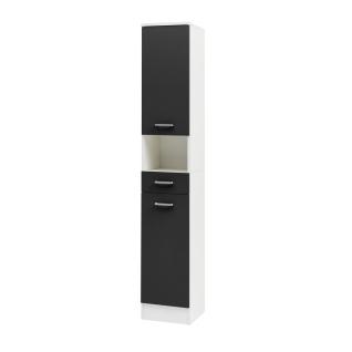 W.Schildmeyer Badmöbel Lorenz Hochschrank H300 mit zwei Türen einem Schubkasten und einem offenen Fach für Badezimmer Korpus Perlweiß Front wählbar - Vorschau 3