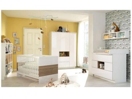 Wellemöbel Malie Babyzimmer 5-tlg., bestehend aus: Babybett mit 2 Gitterbettseiten, Kleiderschrank 3-türig, Kommode mit abnehmbarem Wickelaufsatz, Regal mit 9 Fächern, verschiedene Ausführungen wählbar