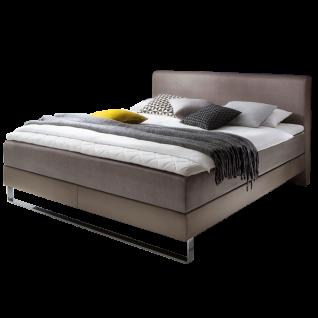 Meise Möbel Boxspringbett Lara mit Kunstleder- und Stoffbezug Porto kombiniert Ausführung und Liegefläche wählbar mit 7-Zonen-Tonnentaschenfederkern-Matratze XXL optional mit Topper