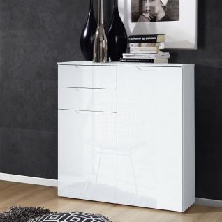 Forte Sienna Kommode SNNK421 mit zwei Türen und zwei Schubkästen Korpusfarbe Weiß Front Weiß Hochglanz Dekor Sideboard für Ihr Wohnzimmer Esszimmer - Vorschau 2