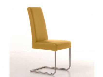 Standard Furniture Stuhl Samiro 3 Schwingstuhl mit Sitzgurten Polsterstuhl für Esszimmer Gestell Edelstahl Rundrohr Bezug wählbar