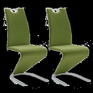 MCA furniture Freischwinger mit Griff Amado im 2er Set Polsterstuhl mit Kunstleder-Bezug olivgrün Gestell Flachrohr verchromt