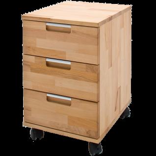 MCA furniture Rollcontainer Masimo Art.Nr. 40305KB1 Front und Korpus Kernbuche Massivholz gewachst-geölt rollbar Unterstellschrank für Ihr Büro