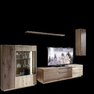 Schröder Kitzalm Alpenflair Wohnzimmer Vorschlagskombination K013 bestehend aus 1 Standelement 1 TV-Unterteil 1 Hängeelement sowie einem Steckboden in Alteiche Natur gebürstet furniert mit Akzenten in Balkeneiche vintage grau - Vorschau 1