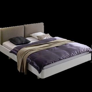 Hasena Fine-Line Bett bestehend aus Bettrahmen Syma 18 Polsterkopfteil Cemoa Füße Airo in Buche weiß deckend lackiert Liegefläche ca. 180 x 200 cm