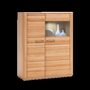 MCA furniture Sena Kombi-Highboard L Art.Nr. KB200T22 Kernbuche Front Massivholz geölt durchgehende Lamellen Korpus außen furniert Korpus innen