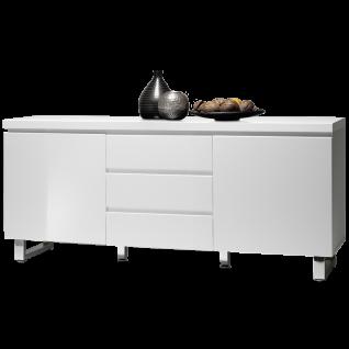 MCA furniture Sideboard Sydney Art.Nr. 48904W1 Front und Korpus Weiß MDF Hochglanz lackiert Füße Metall verchromt 2 Türen und 3 Schubkästen