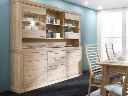 Schröder Sylt Buffetschrank teilmassive Kombination aus Sideboard 2923 und Aufsatzelement 3920 in Asteiche für Wohnzimmer Esszimmer oder Ferienwohnung Beleuchtung wählbar