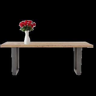 Habufa Charleston Esstisch 36191 Tischplatte aus Kikar teilmassiv Breite ca. 220 cm Kufengestell Metall anthrazit