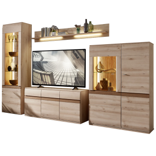 Stralsunder Binz 6-teilige Wohnwand bestehend aus einer Säule einem Highboard einem Wandboard und einem Lowboard Ausführung Alteiche optional mit geschroppten Rückwänden und passender Beleuchtung für Ihr Wohnzimmer