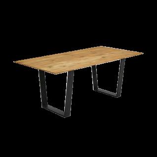Niehoff Merlot Design Esstisch 6783 mit Trapezkufen in Eisen schwarz mit Tischplattenprofil Facette Tischplatte Charakter-Eiche Massivholz gebürstet und geölt Gestell Eisen schwarz Tischlänge wählbar