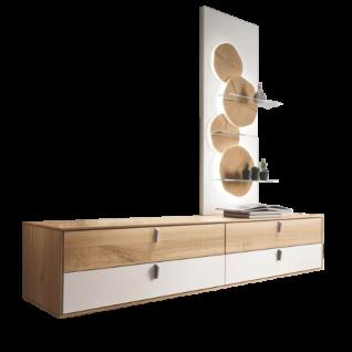 Thielemeyer Meta Hängekommode und Wandpaneel mit 4 Hirnholzscheiben Ausführung Wildeiche mit Absetzungen Lack weiß optional mit LED-Hintergrundbeleuchtung