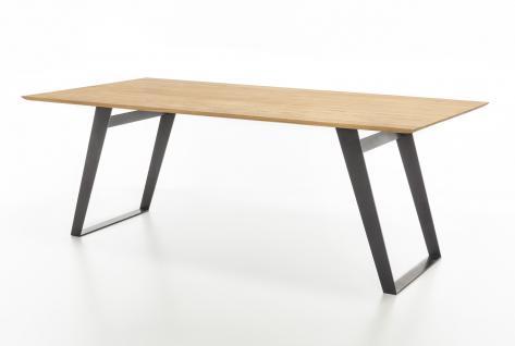 Standard Furniture Esstisch Ottawa mit Gestell 3 Spange schwarz Rundung Platte unten mit fester Tischplatte rechteckig massiv Tisch für Esszimmer Holzausführung und Größe wählbar