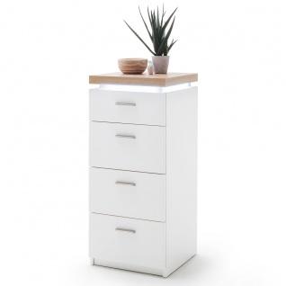 MCA furniture Kommode Cali Art.Nr. CAZ1ST73 Front und Korpus Weiß Melamin Absetzung Wotan Eiche inkl. Beleuchtung