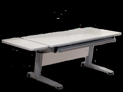 Paidi Schoolworld Falko Schreibtisch Plattenausführung Ecru Gestell silberfarbig optional mit Anbau 75 und Schubkastenvollauszug