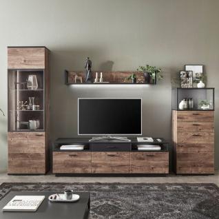 Ideal-Möbel Bacoor Wohnkombination 20 mit Vitrine Wandboard und Lowboard Dekor Eiche Ribbeck Cognac und Cosmos Grey Melamin mit Stahlprofilen - Vorschau 3