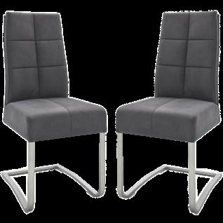 MCA furniture Freischwinger Salva II 2er-Set SA2E16GX mit Griff Bezug Mikrofaser Antiklook grau Luxus-Komforsitz Gestell Edelstahl gebürstet