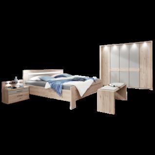 Wiemann Donna 2 Schlafzimmer mit Bett 5-türigem Drehtürenschrank Nachtkonsolen u. Ankleidebank Steineiche-Nachbildung mit Absetzungen Kieselgrau-Dekor