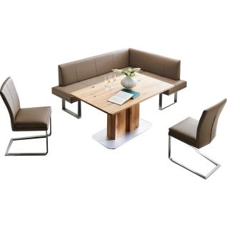Niehoff edle Eckbankgruppe Cora mit Schiebeplattentisch und zwei Schwingstühlen ideal für Ihr Esszimmer!