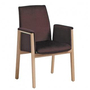 Hartmann Runa Armlehnenstuhl Nuri 0637 mit Holzgestell in Kerneiche natur Sitz und Rücken mit Elastic-Aktiv-Federung Bezug und Farbe wählbar