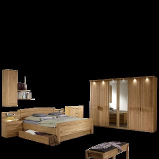 Wiemann Münster Schlafzimmer Kompaktbett mit Bettschubkasten 6-türiger Drehtürenschrank 2 Nachtkonsolen Hängeschrank und Ankleidebank in Eiche teilmassiv