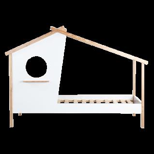 Möbilia Kinderbett MDF Pinie weiß in Hausform ca. 90x200 cm Spielbett mit Lattenrost ohne Matratze