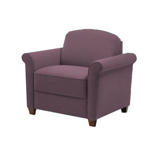 Bali Sessel Diana mit schmalen geschwungenen Armlehnen auf antik dunklen Holzfüßen als ideale Ergänzung zum Sofa