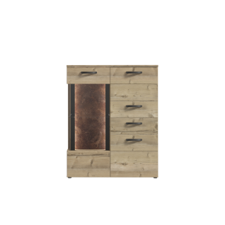 Forte Kalomira Highboardvitrine KLRV321RB für Ihr Wohnzimmer oder Esszimmer Kommode mit zwei Türen einem Schubkasten und einer Glastür inkl. Beleuchtung Ausführung Bramberg Fichte Nachbildung mit Akzenten in Betonoptik dunkelgrau und Absetzungen in Rostop