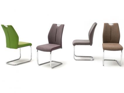 MCA furniture Freischwinger mit Griffloch SILVICA A 2er-Set Bezug Front Filzoptik Masada Rücken Polyurethan Gestell Rundrohr verchromt Bezugfarbe wählbar Stuhl für Ihr Esszimmer