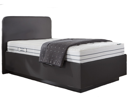 Oschmann Belcanto Fantasio Polsterbett mit Bettkasten glatt Liegefläche ca. 120x200 cm mit Kopfteil KT 0383 Matratze MA 400 Taschenfederkern Lattenrost LR 26 und Bettsockel in schwarz Stoffausführung in anthrazit