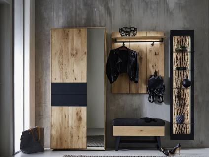 Hartmann Runa Garderobe Vorschlagskombination 106 vierteilig aus Massivholz Kerneiche natur gebürstet mit Applikation Rinde Garderobe für Diele Beleuchtung wählbar