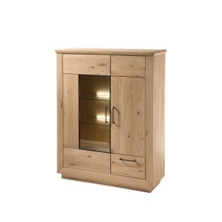 Quadrato Malta Highboard 40521807 für Ihr Wohnzimmer oder Esszimmer Anrichte mit zwei Türen Front und Korpus Wildeiche Massivholz bianco geölt Beleuchtung wählbar